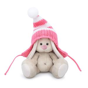 Мягкая игрушка  Малыши Зайка Ми в полосатой розовой шапке 15 см Budi Basa
