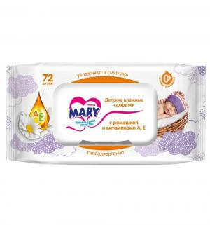 Влажные салфетки  c ромашкой и витаминами А Е, 72 шт Mary