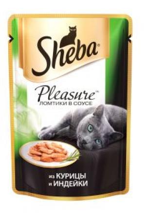 Промо, Влажный корм SHEBA Pleasure для кошек, курица/индейка, 85 г