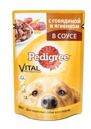 Корм влажный  для взрослых собак, говядина/ягненок, 100г Pedigree