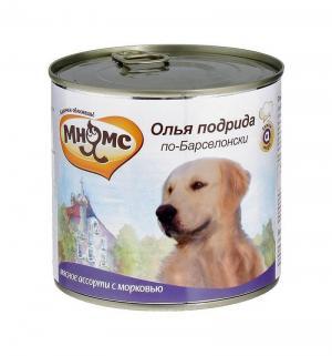 Влажный корм  для взрослых собак, олья подрида по-барселонски (мясное ассорти/морковь), 600г Мнямс