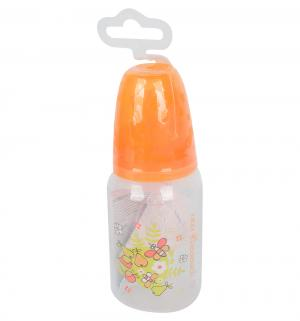 Бутылочка  с силиконовой соской полипропилен рождения, 125 мл, цвет: оранжевый Мир Детства