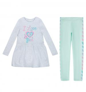 Комплект платье/леггинсы  Male, цвет: серый/голубой Acoola