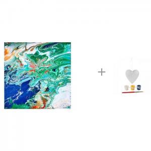 Арт-терапия Флюид Арт Планета Земля и комплект для творчества Ёлочные украшения Сердце ВВ1658 Molly