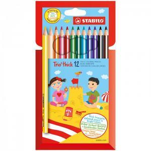 Карандаши цветные трехгранные утолщенные Trio 12 цветов Stabilo