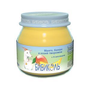 Пюре  манго, банан и козий творожок с 6 мес, шт по 80 г Бибиколь