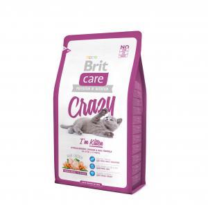 Сухой корм  Care Crazy для котят /беременных и кормящих кошек, курица/рис, 2кг Brit