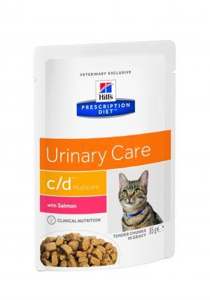 Влажный диетический корм Hills Prescription Diet c/d для взрослых кошек при мочекаменной болезни, лосось, 85г Hill's