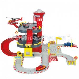 Парковка пожарная станция Cratix + вертолет машинка Majorette