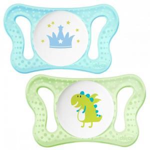 Пустышка  Micro для мальчиков силикон, с рождения, цвет: голубой/салатовый Chicco