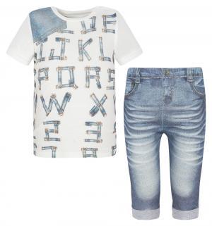 Комплект футболка/брюки  Fashion Jeans, цвет: белый/голубой Папитто