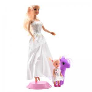 Игровой набор  Мама+дочка с пони и аксессуарами, в белом платье Defa