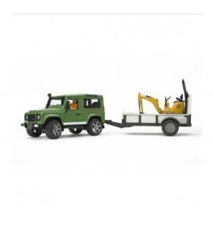 Внедорожник  Land Rover Defender с прицепом и гусеничным мини-экскаватором Bruder