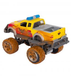 Фрикционная машинка  внедорожник Rally Monster желтый с имитацией грязи 15 см Dickie