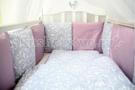 Комплект в кроватку  Дамаск (6 предметов) с бортиками-подушками ByTwinz