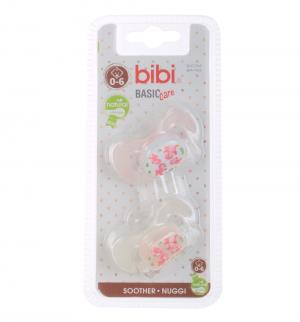 Набор пустышек  Natural Коллекция №6 BasicCare силикон, 0-6 мес, цвет: белый/розовый Bibi