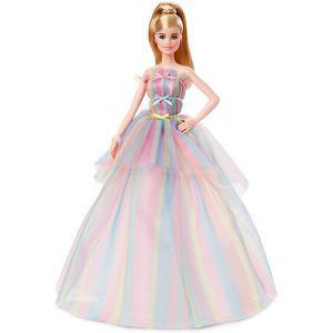 Коллекционная кукла Barbie Пожелания ко дню рождения в радужном платье Mattel. Цвет: разноцветный