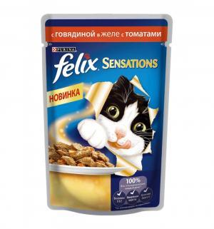 Корм влажный  Sensation для взрослых кошек, говядина/томаты, 85г Felix
