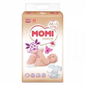 Premium подгузники M (6-11 кг) 62 шт Momi