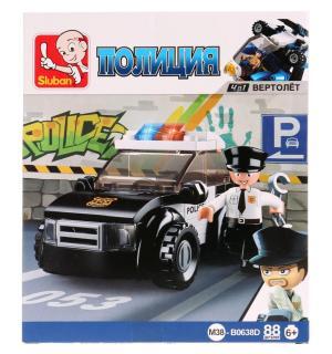 , Конструктор пластиковый Полицейская машина с фигуркой, 88дет. Sluban