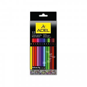 Карандаши цветные Blackline-PB, шестигранные, 12 цветов. ADEL