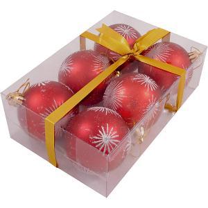 Набор елочных шаров Magic Land красный с белым, 6 штук Волшебная Страна. Цвет: разноцветный