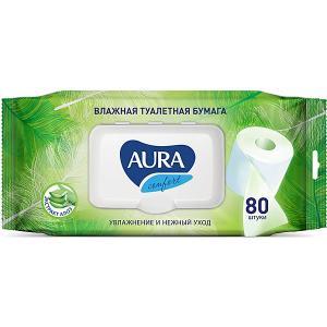 Влажная бумага туалетная AURA Ultra Comfort с алоэ, 80 шт Cotton Club