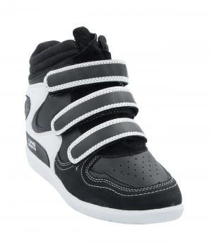 Кроссовки на танкетке для девочки (черно-белые) King Boots. Цвет: черный