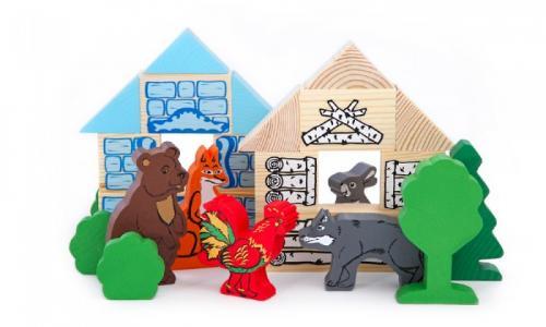 Деревянная игрушка  Конструктор Сказки Зайкина избушка 24 детали Томик