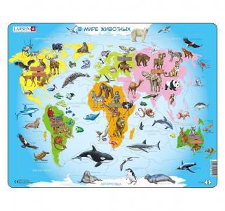 Пазл  Карта мира с животными 28 деталей Larsen