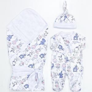 Комплект на выписку  летний (плед, лента, комбинезон, шапочка) Зайчишка СуперМаМкет