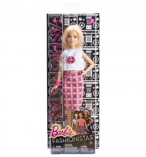 Кукла  Игра с модой Блондинка в белом топе и розовой юбке клетку Barbie