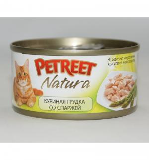 Влажный корм  для взрослых кошек, куриная грудка/спаржа, 70г Petreet