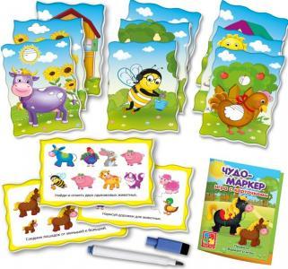 Настольная игра  с карточками Чудо-маркер Ферма Vladi Toys