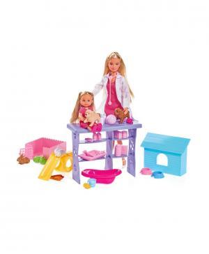 Кукла Штеффи и Еви, набор Мир животных, 35 предметов, 29 см, 12 см. Ecoiffier
