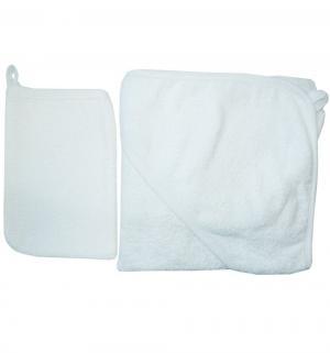 Комплект для купания  полотенце с уголком/рукавичка уголком, цвет: белый Папитто