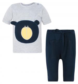 Комплект футболка/шорты  Bear, цвет: серый/синий Aga