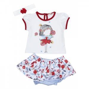 Комплект для девочки футболка, юбка-песочник, повязка 3350 Baby Rose