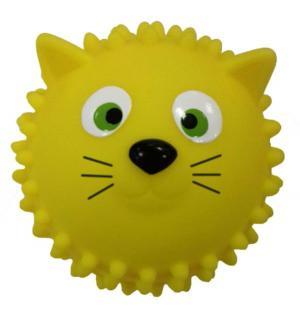 Массажный мяч  Кошка желтый 8 см Яигрушка