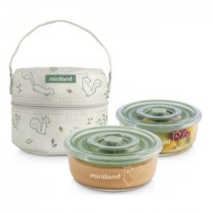Термосумка Pack-2-Go Naturround с двумя стеклянными круглыми контейнерами Miniland