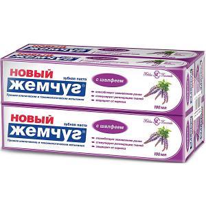 Зубная паста Новый Жемчуг С шалфеем, 100 мл, 4 шт Невская косметика