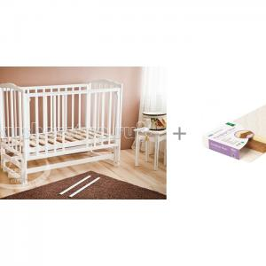 Детская кроватка  Кристина С-619 маятник продольный с матрасом Плитекс Кокосовый+латекс Комфорт-Элит Можга (Красная Звезда)