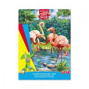 Бумага А4 16л  цветная двусторонняя в папке Фламинго ArtBerry