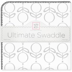 Фланелевая пеленка  Lolli Fleur Grey, 110х110 см SwaddleDesigns. Цвет: серый/белый