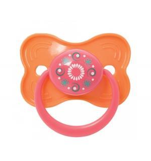 Пустышка  Узоры силикон, с рождения, цвет: оранжевый/розовый Курносики