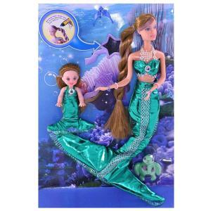 Игровой набор  Мама-русалочка+дочь, с зеленым хвостом Defa