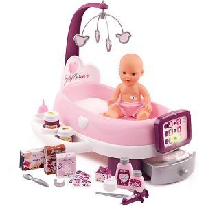 Набор по уходу с куклой и планшетом  Baby Nurse Smoby. Цвет: фиолетово-розовый