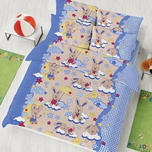 Детское постельное белье 1,5 сп , Зайки Letto. Цвет: синий