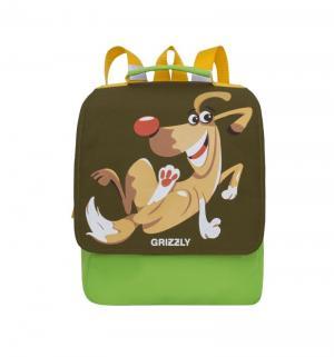 Детский рюкзак  хаки с салатовым Grizzly