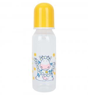 Рожок  Коровки пластик с рождения, 250 мл, цвет: желтый Сказка